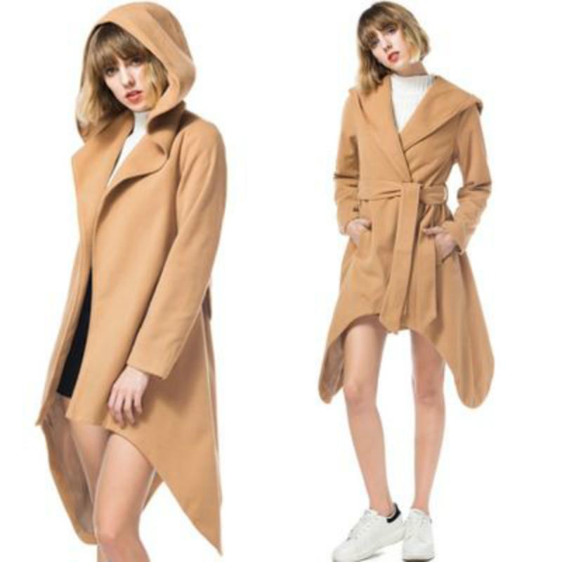 Abrigos con capucha de lana Chaqueta delgada vintage 2018 Europa Estilo Emerica Plus Talla