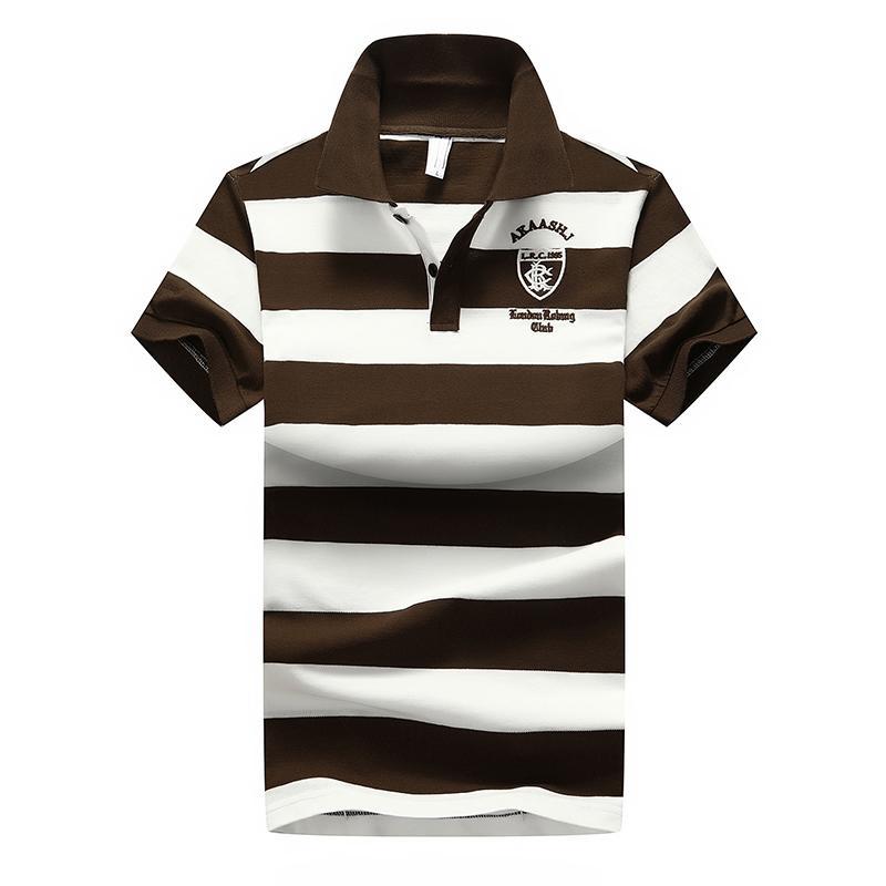 Diseñador de los hombres PoloShirt Nueva ocasional del verano de rayas de algodón para hombre Polo contraste de color Polos Polo Hombre Camisa tamaño M-4XL