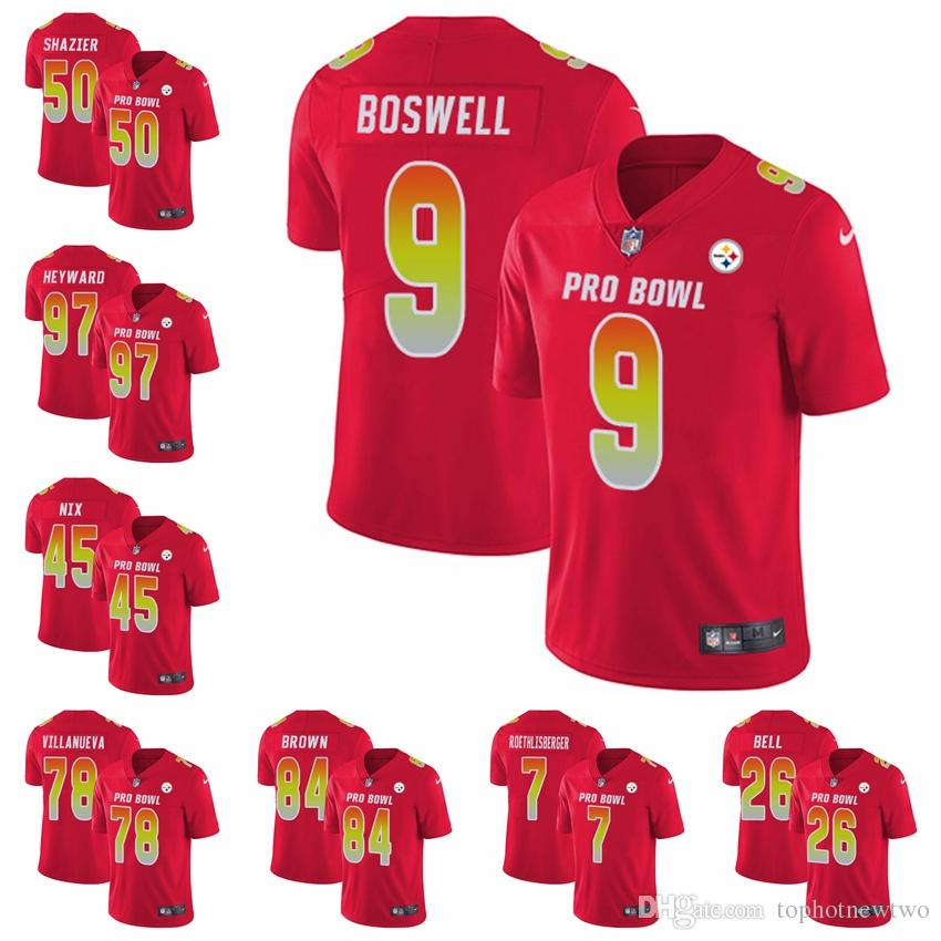 new arrivals 1f041 d8e31 2018 Pittsburgh Red 2018 Pro Bowl 26 Bell Jersey 84 Antonio Brown 90 T.J.  Watt Limited Football Jersey From Tophotnewfive, &Price; | Dhgate.Com