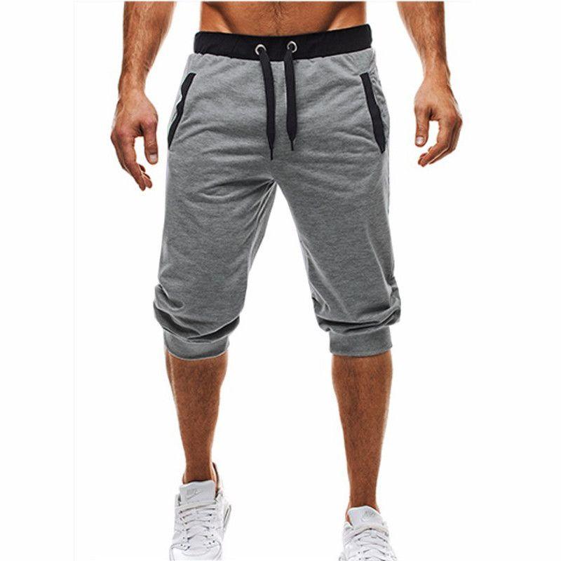 2017 homens verão calções moletom casuais elástico na cintura algodão 3/4 calças de fitness clothing musculação masculino calções