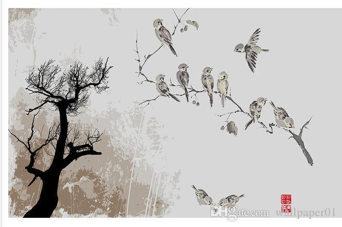 Custom Fototapeta Nowoczesna Sztuka Malarstwo Wysokiej Jakości Mural Tapeta Mały Ptak Tło ściany Na Atramcie Malowanie 3D Tapety ścienne Ból ścienny