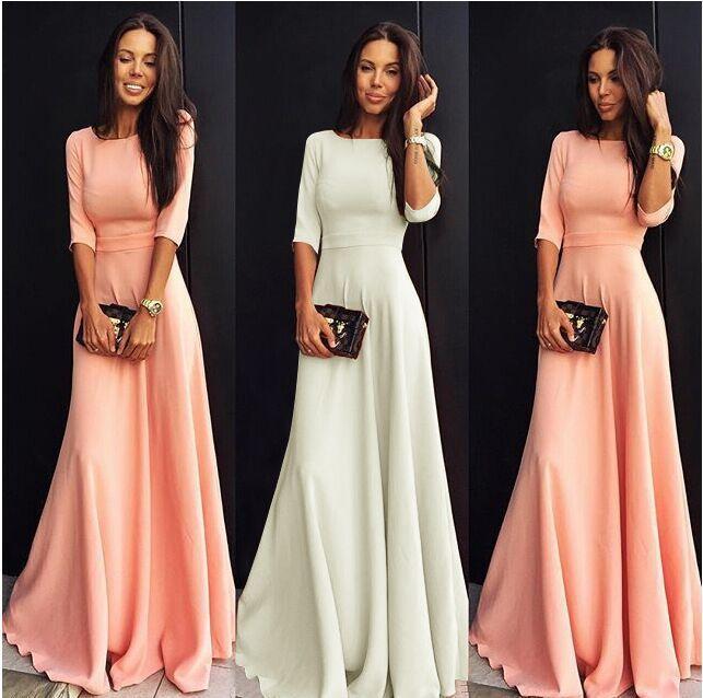 새로운 고화질 여성 o 목 섹시한 3 분기 소매 아가씨 휴가 저녁 식사 봄 드레스 브랜드 분홍색 흰색 오렌지색 드레스