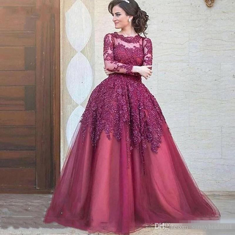 2018 Nouvelle arrivée Arabie Saoudite Brodé longues femmes de soirée Jewel Sheer sexy manches longues en tulle __gVirt_NP_NNS_NNPS<__ robes de soirée formelle Plus Size