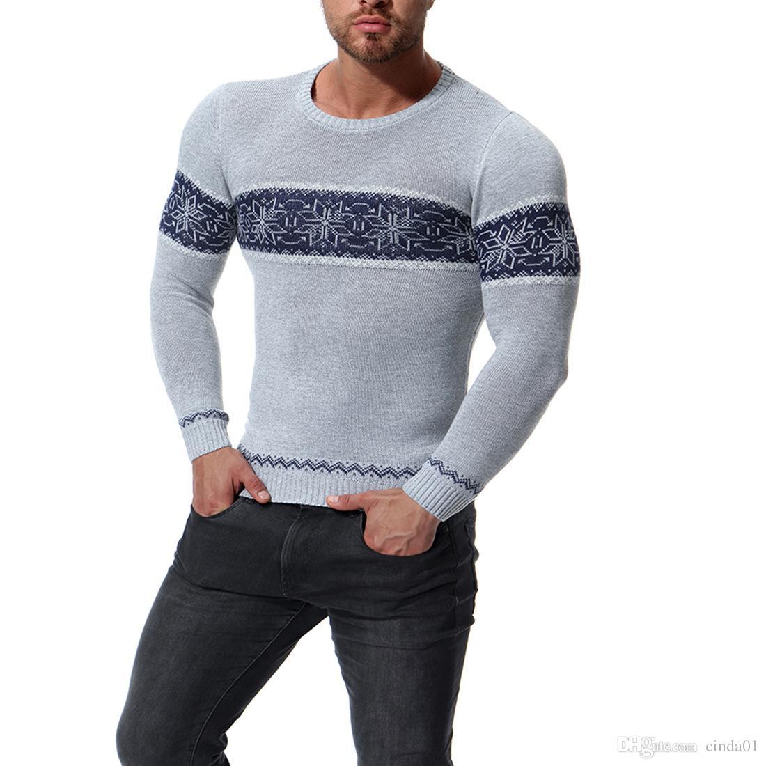 Mens Impreso Casual Slim Fit Suéteres Otoño Invierno Hombre de manga larga con cuello redondo Tops Knited Pullover