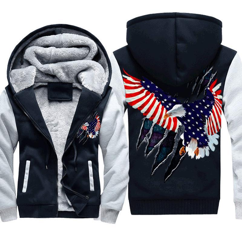 Куртки Американская толстая печать летающие орел мужской флаг зима ATGLV