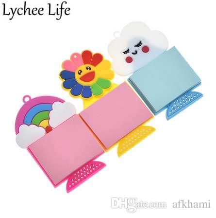 Lychee Life papel de nota del arco iris imán de nevera colorido refrigerador etiqueta magnética de bricolaje decoración de la cocina decoración del hogar
