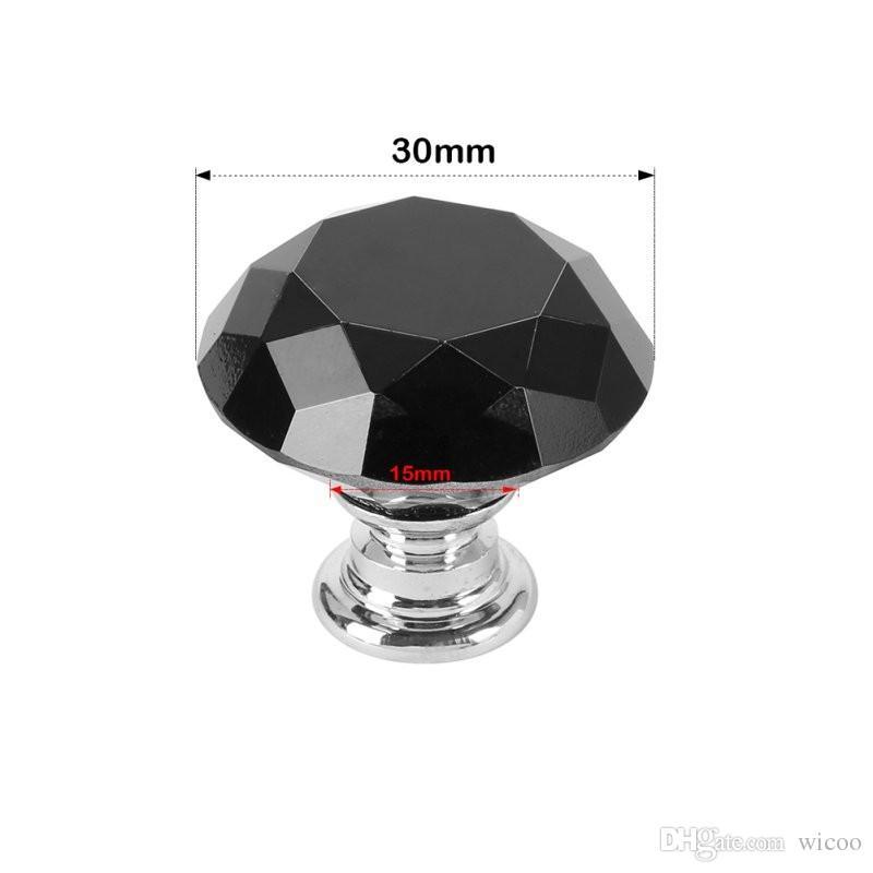 10 pçs / set 30mm Armário Armário Pull Handle Knobs Gota De Cristal De Diamante Gaveta Puxa Liga De Vidro Da Gaveta Da Porta