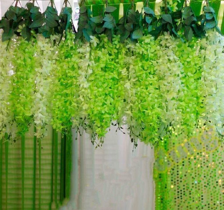 Décoration de mariage romantique guirlande artificielle suspension plantes d'orchidées faux soie fleur de vigne pour la décoration de fête de toile de fond de mariage