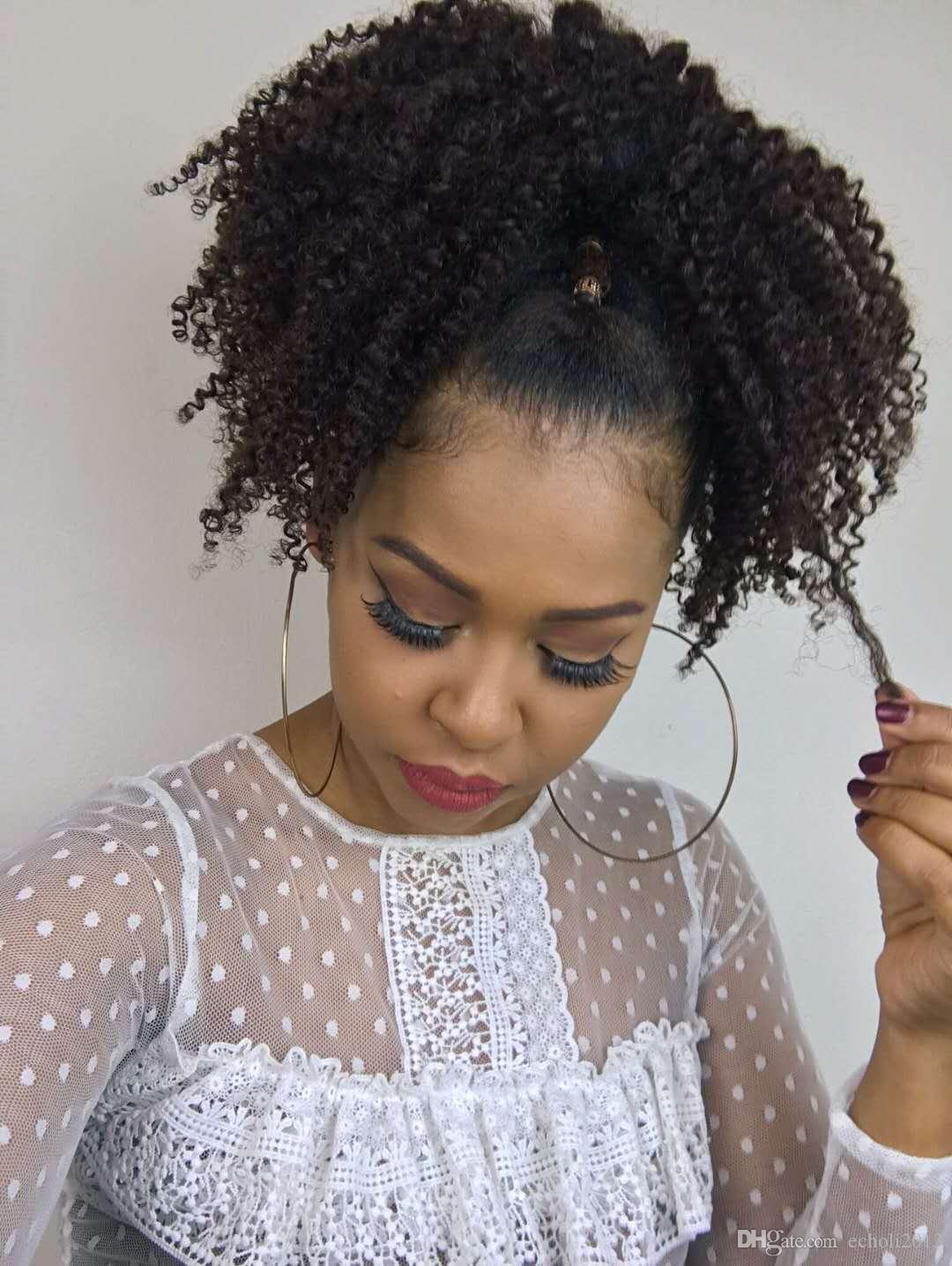 Court Kinky Curly cordon de queue de cheval extension de cheveux humains Clip vierge brésilienne cheveux queue de cheval Afro postiche 4colors navire gratuit 120g