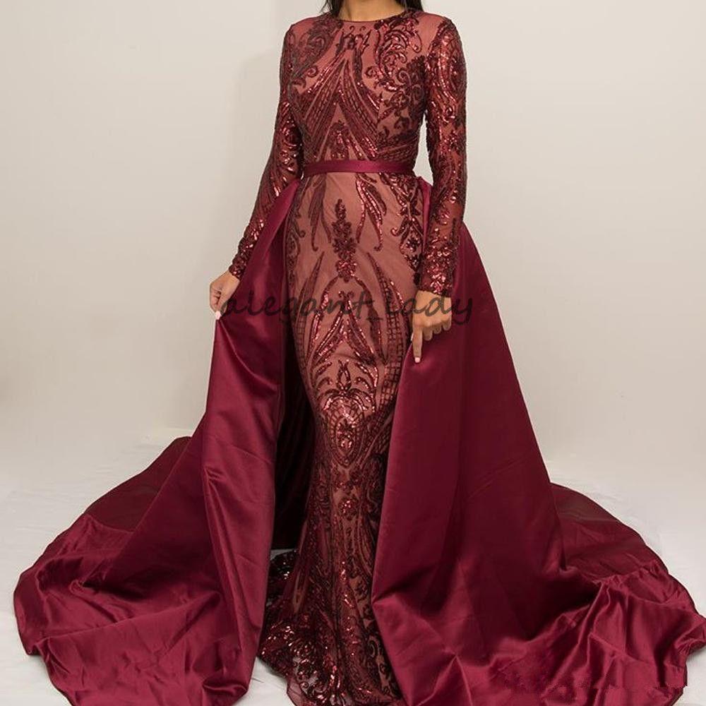 Bourgogne dentelle paillettes Soirée robes de soirée à manches longues 2018 Abaya Kaftan Arabic Hijab Joyau Sirène Robe de bal avec train détachable