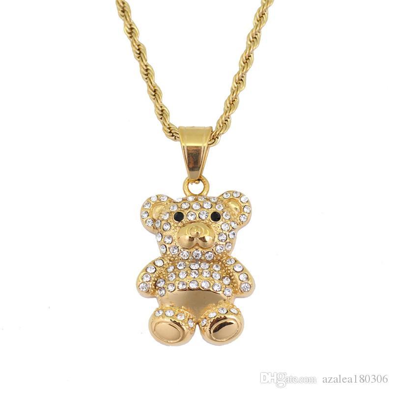 Ours pendentif collier en acier inoxydable incrusté de dessins animés en cristal de bande dessinée pendentif 60cm chaîne bijoux hommes et femmes