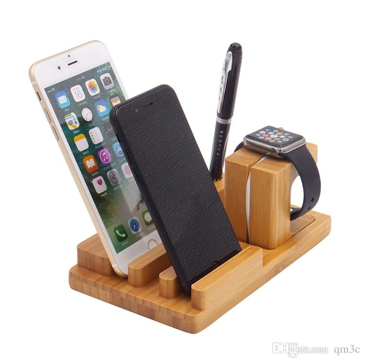 2019 Newest Design Wood Phone Holder Stander For Iphone Mobile Phone Apple Watch Holder Charger Dock Station Wooden Desktop Stand For Samsung From