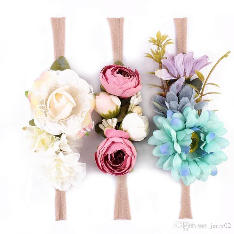 3 Unids / set Flor Del Recién Nacido Venda de Nylon Faux Flor de las Flores Bandas Para el Cabello Recién nacido Headwear Accesorios de Fotografía Accesorios de Cabello