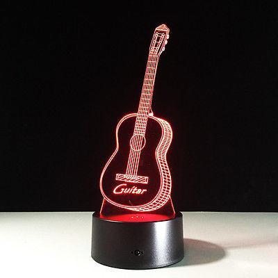 Ilusión 3D Lámpara de luz nocturna Interruptor táctil Guitarra colorida Instrumento musical # R42