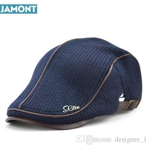 JAMONT Высокое качество English Style Зимняя шерстяная Пожилая мужская крышка Толстая теплая шляпа Beret Классический дизайн Vintage Visor Cap Snapback