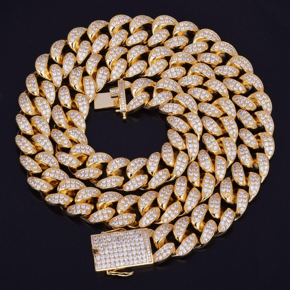 Nuovo caldo del venditore 20 millimetri fuori ghiacciato zircone cubano la collana Chain monili di Hip Hop di rame Materiale CZ Chiusura Mens Collana link 18-28inch