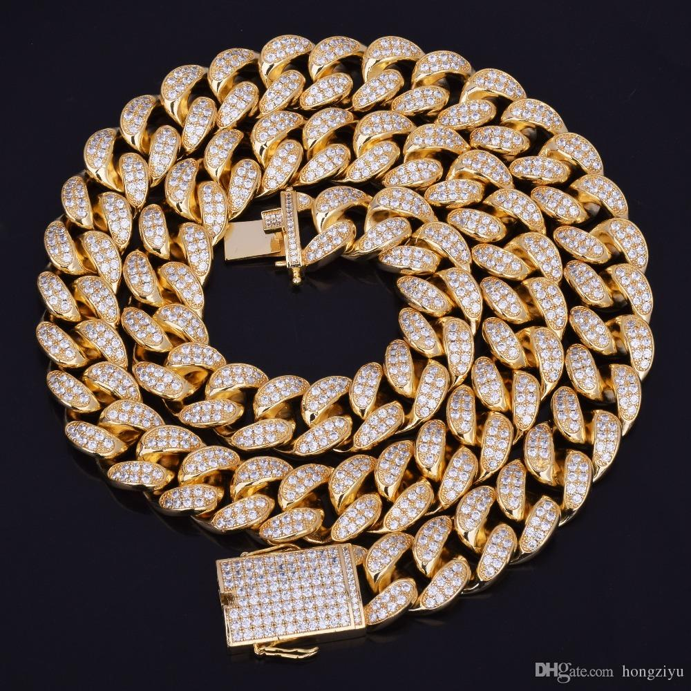 New Hot Seller 20mm Iced Out Zircon Cuban Necklace Chain Hip hop Jewelry Copper Material CZ Clasp Mens Necklace Link 18-28inch