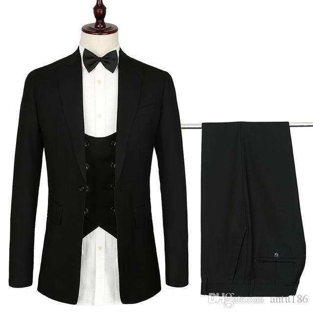 Şimdi popüler yeni erkek high-end takım üç parçalı takım (ceket + pantolon + yelek) erkek iş elbisesi düğün damat elbise destek özel