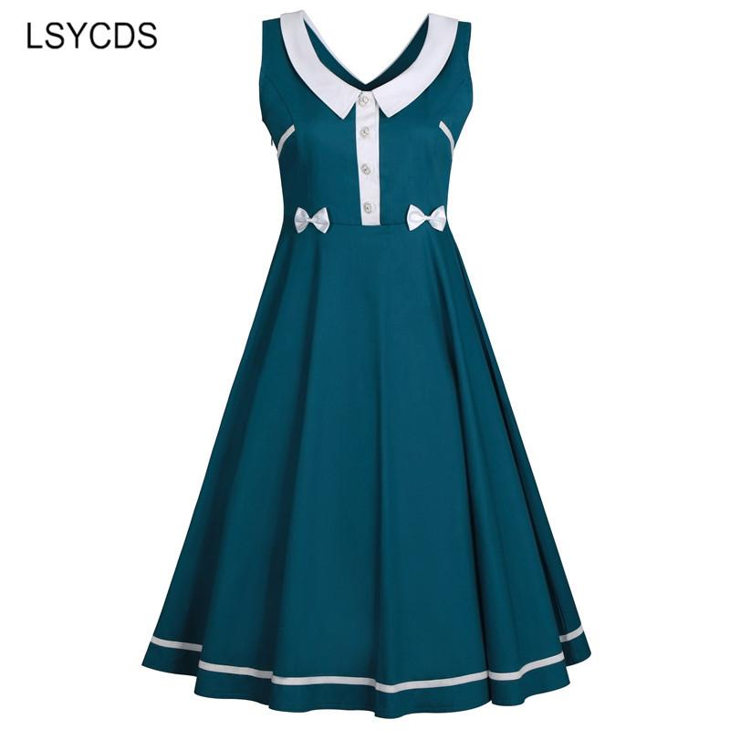 Summer 2018 Dress Elegant Bow Sleeveless Robe Gown Big Swing Retro Casual Party Rockabilly 50s 60s Vintage Women Dresses 3XL 4XL
