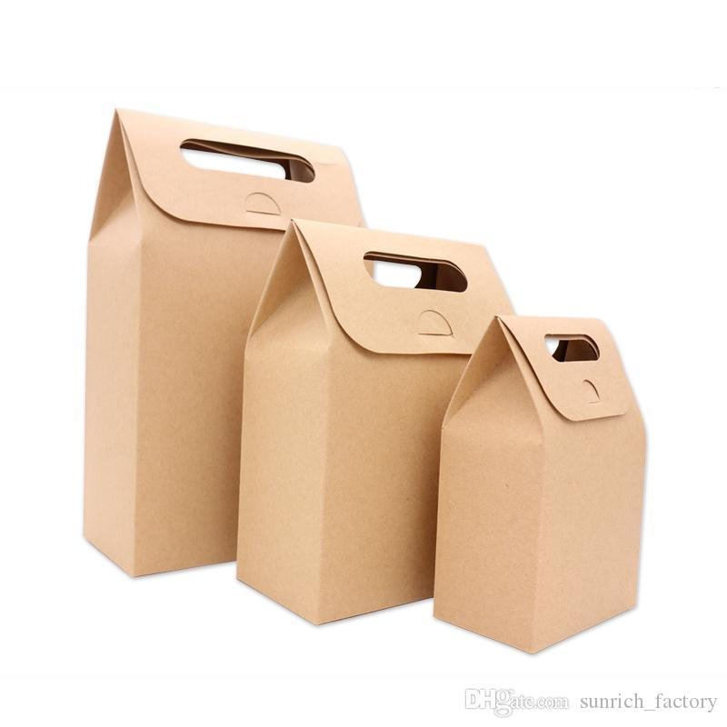 500pcs/lot Kraft Paper Candy Boxes With Handle Snack Cookie Chocolates Gifts bag for wedding birthday party Christmas favors Package