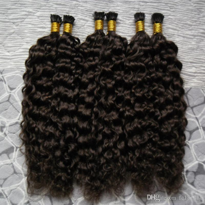 Brazilian Curly 100% Remy Human Fusion Haar lockiges europäisches Keratin I Tipp Haar I Tipp vor verklebten Haarverlängerung