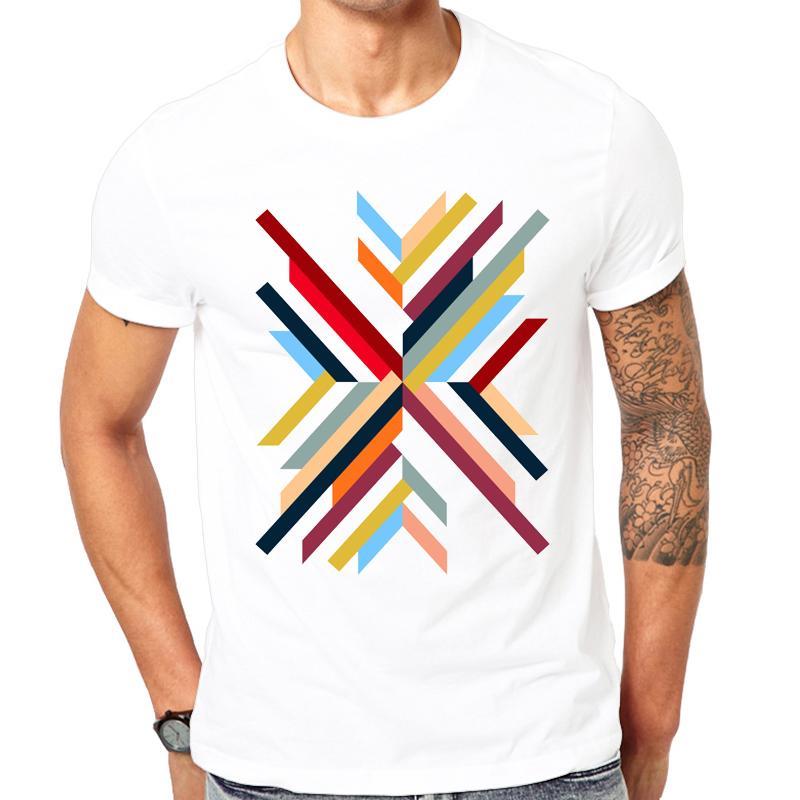 Nouveau Mode Été Abstrait Géométrique Imprimé T-shirt Hommes O - Cou Confortable Casual Blanc T-shirt Marque De La Mode Tops