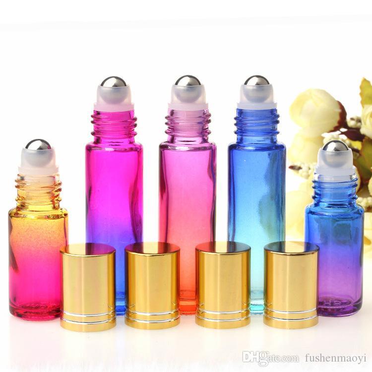10 ml Glas ätherischen Öl Rollerflaschen Steigung-Farben-Flaschen mit Edelstahl-Kugeln rollen auf Bottle Perfekt für ätherisches Öl Parfüm
