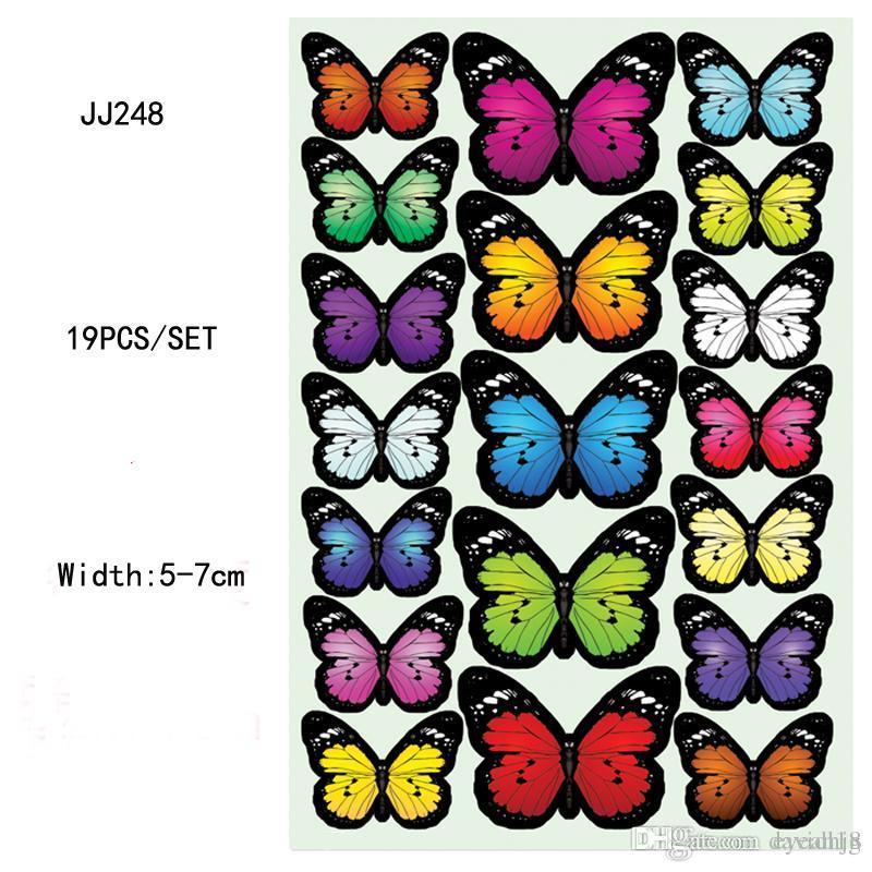 19 Pz / set Colorful PVC 3D Simulazione Farfalla Adesivi Murali Adesivi Smontabili Del Frigorifero Magnete Per La Decorazione Domestica 8ZJJ248