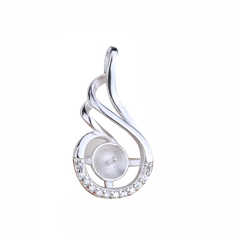 Стерлингового Серебра 925 Женщин Свадьба Обручальное Кулон Кристалл 6-9 мм Жемчуг или Круглый Бисер Полу Маунт Подвеска Установка DIY Камень