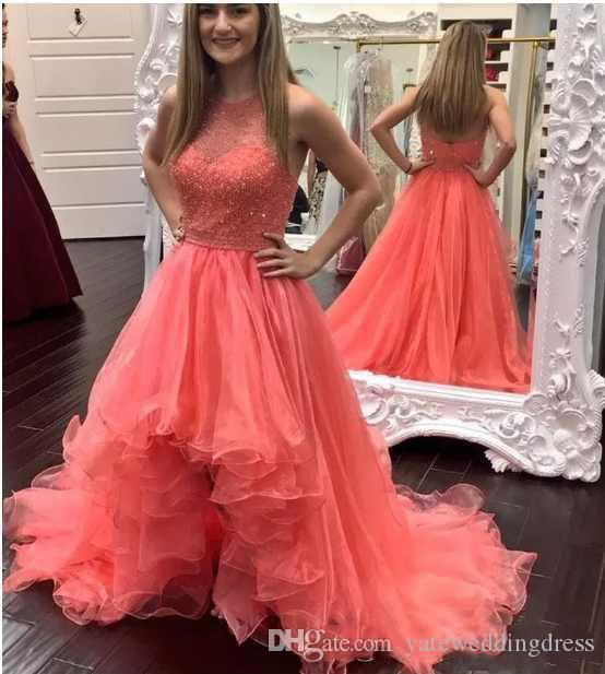 2018 New Coral Prom Dresses Elegant Halter Sleeveless Evening Gowns Back Zipper Hi-Lo Tiered Custom Made Party Dress With Lace Applique
