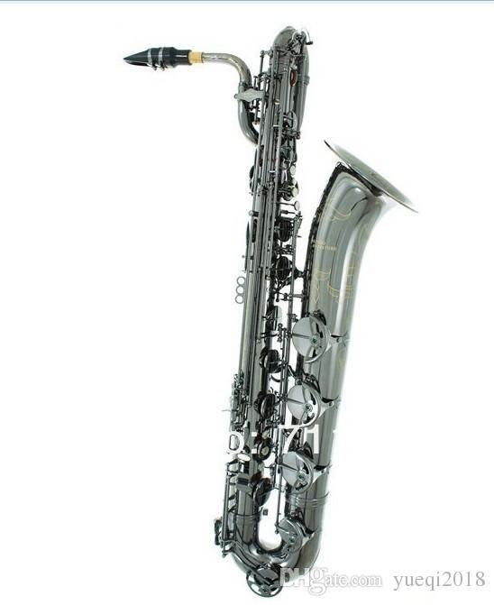 Marca Sassofono baritono Strumenti musicali a fiato di alta qualità Corpo in ottone superficie nichelata con custodia per musica jazz
