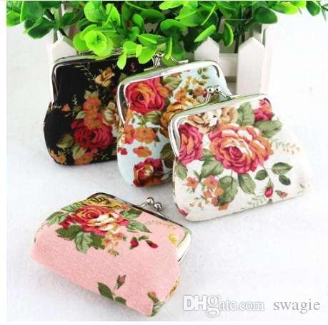 Venda quente Mulheres Coin Purse Carteira Bonito Da Senhora Retro Do Vintage flor Pequena Bolsa Hasp Carteira Kawaii Saco de Embreagem Monedero # A9