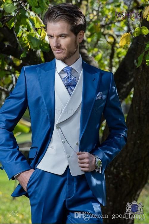 Fashion Royal Blue Men Wedding Tuxedos Peak Lapel One Button Groom Tuxedos Men Wedding/Prom/Dinner/Darty Dress (Jacket+Pants+Tie+Vest) 1800