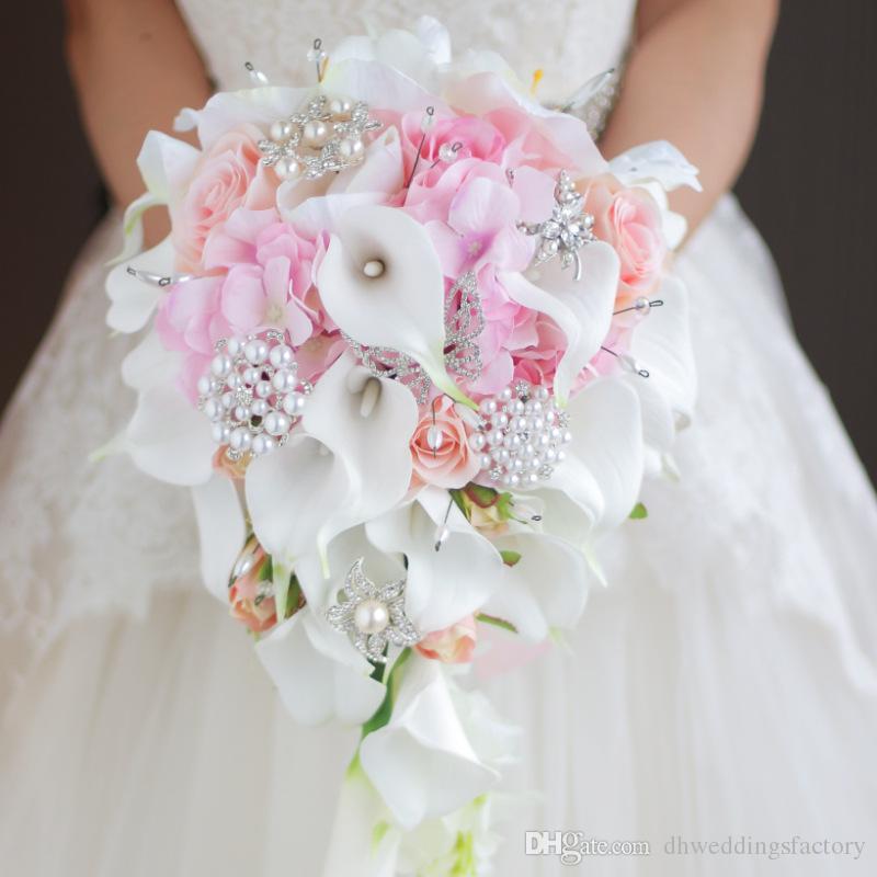 Fiori Da Sposa.Acquista Bouquet Da Sposa Perle Di Cristallo Calla Bouquet Fiori