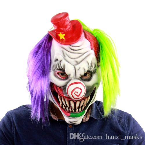Hanzi_masks 2019 Halloween Mask Scary Clown Latex Full Face Mask Big Mouth Red Hair Nose Cosplay Horror masquerade mask Ghost Party