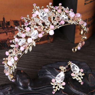Fantasy Crystal Bridal Crown Birthday Photography Rhinestone Leaf Tiaras Pink Hair Bridal Jewel Set With Earring half up Wedding Headpieces