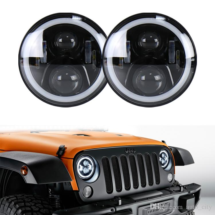 7inch 60W LED Headlights Hi/Lo Beam + Angel Eyes Headlamp for Jeep Wrangler JEEP CJ JK TJ with DRL Black/Chrome headlights