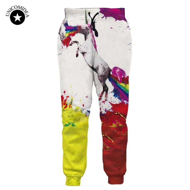 Moda Homens Mulheres Calças de Suor Arco Íris Unicórnio 3d Impresso Calças Corredores Streetwear Treino Sportswear Casual Harajuku Calças