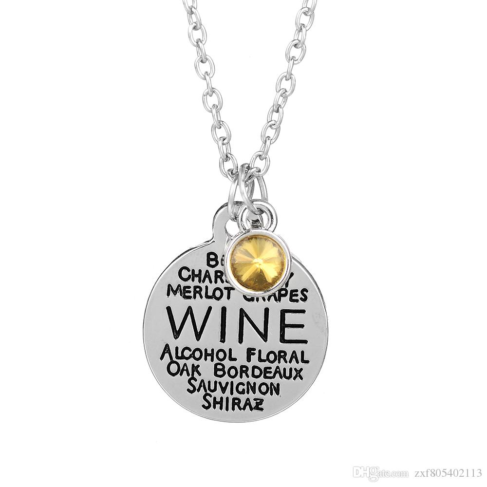 wholesale 10pcs/lot Wine Word Collage Charm Pendant Necklace personalise necklace Birthstone Necklace Holiday jewelry gift