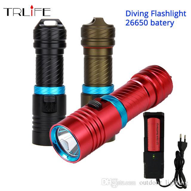 10000Lums L2 الغوص للماء مضيا الغوص تحت الماء 100 متر LED شعلة مصباح التخييم الفانوس استخدام 26650 18650 بطارية