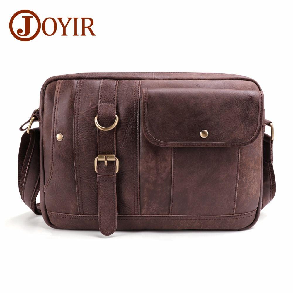 JOYIR Genuine Leather Men Bags Vintage Messenger Bags Cow Leather Men Shoulder Bag Casual Male Small Briefcases Crossbody