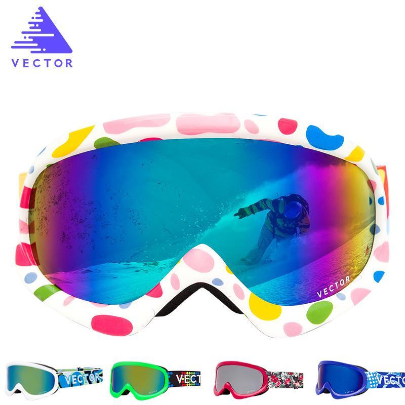 Вектор дети лыжные очки двойной объектив девушки мальчики сноуборд лыжные очки дети зима снег ребенок очки UV400 противотуманные HXJ200 C18110301