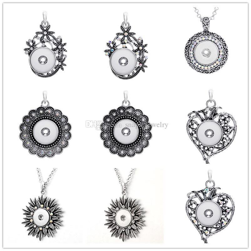 collana stile vintage Noosa pezzi cuore croce con bottone a pressione con bottone a pressione 18mm per le donne