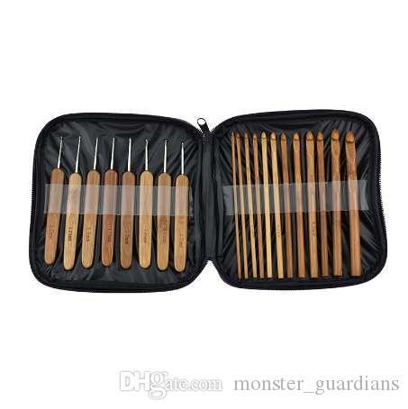 Looen 20 adet / takım Bebek Örme İğneler Kolu Bambu Tığ Hooks Örme İğneler Seti Örgü Craft Aracı ile Çanta Mumya Gerekli