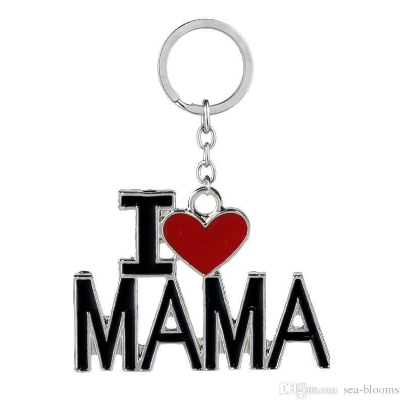 Free DHL I Love DAD MOM MAMA Keychains With Letters Red Love Heart Key Ring Chains Car Bag Keyring Birthday Present Accessories D275LR