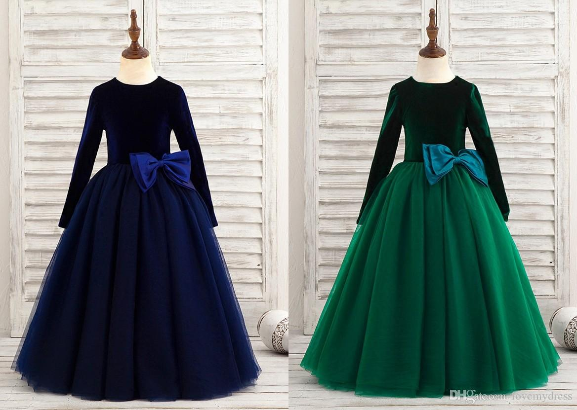 Green Long-sleeve velvet girl dress