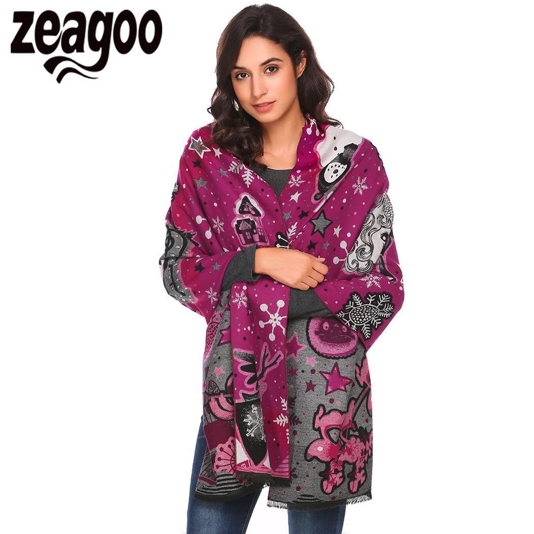 wholesale Scarf Neck Long Wrap Blanket Shawl Print Stole Warm Tassel Christmas Women
