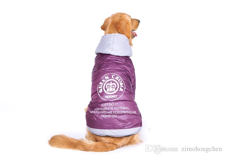 Large Dog Big Dog clothes Purple Warm Cotton-padded Two Feet Clothes Thicken Hoodie coat jacket Dog Clothes
