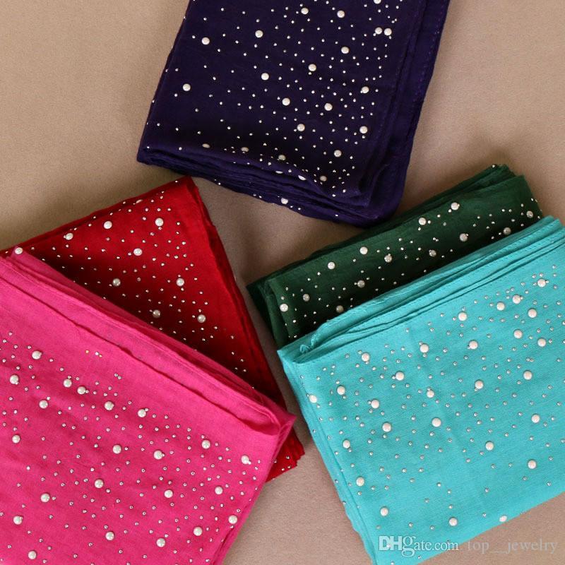 Hot Women Plain Pearls Cotton Scarf Shawl Fashion Bead Scarves High Quality Pashmina Bandana Muslim Hijab Wrap Head Scarf 180*70cm 10pc/lot