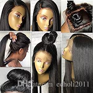 African american Yaki Straight Wigs Lace Front Human Hair Wigs For Black Women 130% Density Remy light Yaki full lace Human Hair Wigs